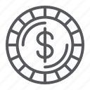 cent, coin, dollar, finance, money, sign icon