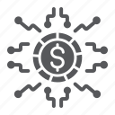 banking, coin, cryptocurrency, currency, digital, finance, money icon
