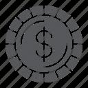 cent, coin, dollar, finance, money, sign icon