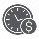 clock, coin, dollar, finance, hour, money, time icon
