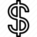 dollar, dollar symbol, money, sign icon