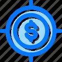 money, profit, target icon