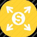 arrow, coin, currency, dollar, money