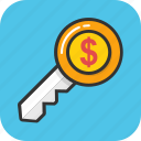business key, dollar key, incentive, investment, success key icon