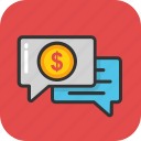 business conversation, dollar chat, ebanking, ebusiness, financial chat icon