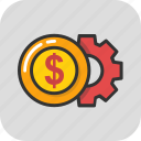 business development, business stability, dollar gearwheel, economic growth, money gear icon