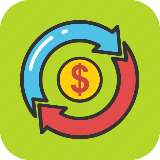 business growth, currency arrows, debt fund, dollar exchange, money marketing icon