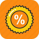 discount, interest, math sign, percentage, sale icon