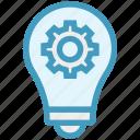 bulb, cogwheel, concept, finance, gear, idea, light