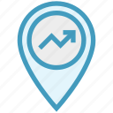 business, finance, gps, graph, location, map pin, marketing icon