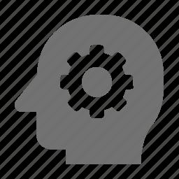 brain, brain cog, brainstorm, cerebrum, cogwheel icon