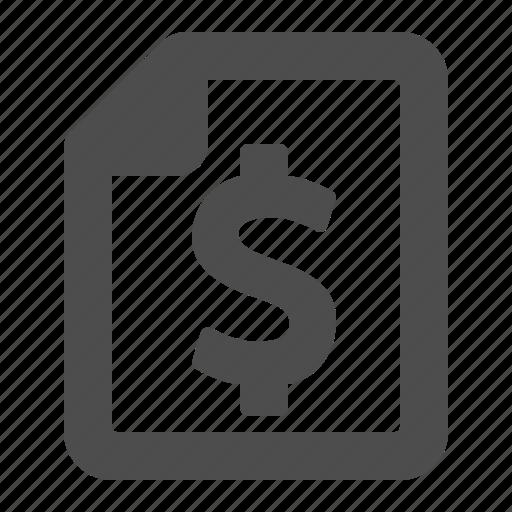 bill, document, dollar, file, tax icon
