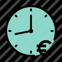 clock, euro, money, time, time is money icon