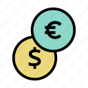 cash, coin, dollar, euro, finance, financial, money icon