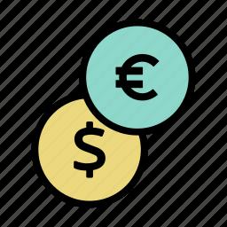 cash, coin, dollar, euro, finance, financial, money icon