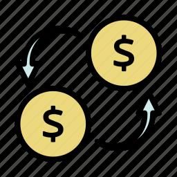 convert, dollar, financial, money, money transfer, transaction, transfer icon