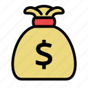 bag, bank, dollar, dollars, money icon