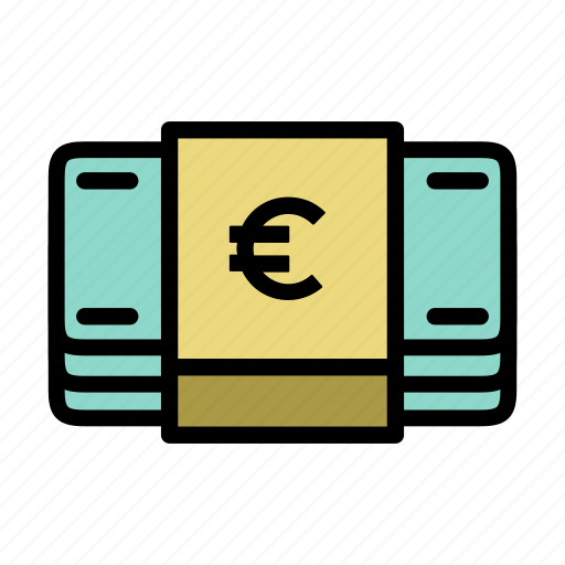 bills, cash, euro, finance, money icon