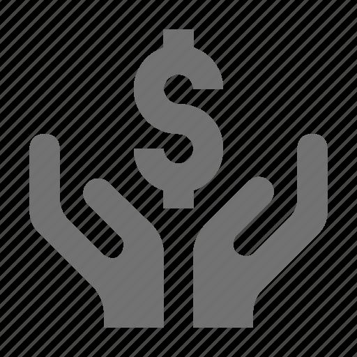entrepreneurship, hands, investment, money, money in hands icon