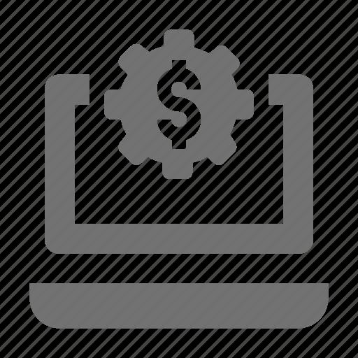 cog, cogwheel, dollar cog, gear, gear wheel icon