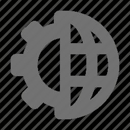 cogwheel, gear, globe, globe settings, world icon