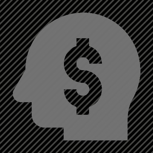 business idea, business mind, dollar sign, entrepreneurship, idea icon