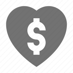 dollar heart, favorite sign, finance, heart shape, heart sign icon