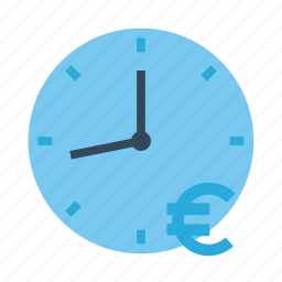 clock, euro, money, time, time is money icon