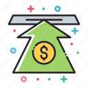 arrow, bank, dollar, finance, money, up, value icon
