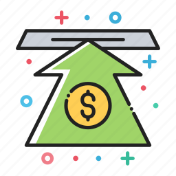 arrow, bank, dollar, finance, money, up, value icon