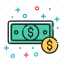 bills, cash, coin, dollar, finance, money icon
