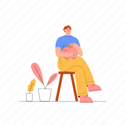 finance, piggy bank, man, stool, sitting