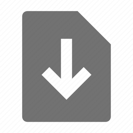 arrow, down arrow, extension file, file, file download icon