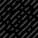 dollar, gear, money, settings, sign, wheel icon icon