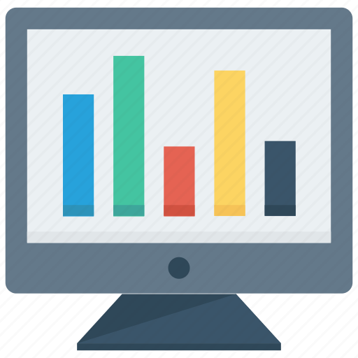 analytics, chart, computer, graph, laptop, monitoring, statistics icon icon