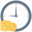 financial, time icon, money, clock, credit, income, payment