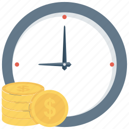 clock, credit, financial, income, money, payment, time icon icon