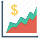 currency, financial, money icon, business, graph