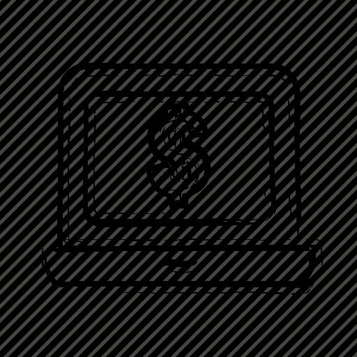 computer, dollar, finance, laptop, notebook, pc icon