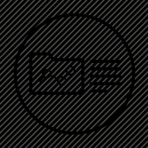 analytics, diagram, folder, line graph, report, round, statistics icon