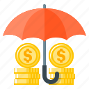 coins, finance, funds, funds protection, protection, safety, umbrella icon