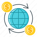 finance, global, international, international finance, money turnover, turnover icon
