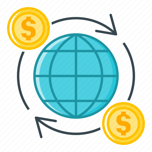 finance, global, international, international finance, money turnover, turnover icon
