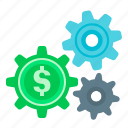 cogwheel, finance, gear, making, making money, money, service icon