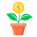coin, finance, flower, growth, money, money growth, money tree icon