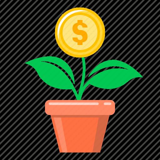 coin, finance, flower, growth, money, money growth, money tree icon