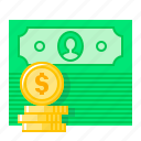 bank note, coins, currency, dollar, money, payment, revenues icon
