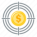 coin, finance, goal, target, targeting icon
