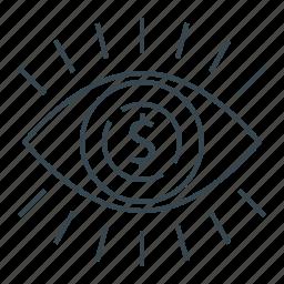 dollar, eye, finance, market, market vision, vision icon