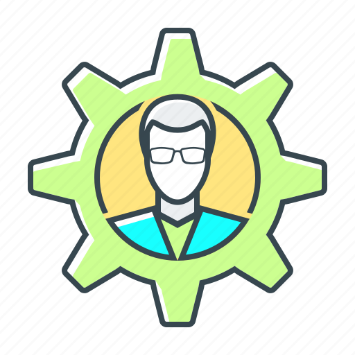 cogwheel, gear, man, management, manager icon